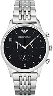 Emporio Armani Men's Black Dial Stainless Steel Band Watch - AR1863