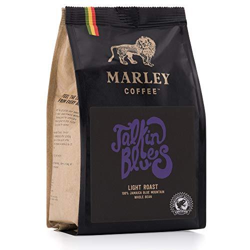 Talkin' Blues de Marley Coffee, 100 % de café Jamaica Blue Mountain, granos de café, tostado medio, de la familia de Bob Marley, 227 g Café en Grano
