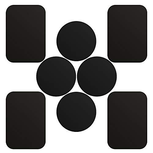 SKYEE[8 Stück] Metallplatte Metallplättchen Set Ersatzplatten 4 Runden+4 Rechteckig mit 3M Klebefolie für Magnet KFZ handyhalterung Sehr Dünn klebt Rückseite der Hülle kompatibel mit Handy und Tablet.
