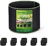 HOUSE DAY Bolsa de Cultivo (Paquete de 10) - 30 litros / 7 galones Maceta de Cultivo con asa Negro - Bolsas de Tela no Tejida para Plantas para Orgánico de Vegetales, Flores y Plantas