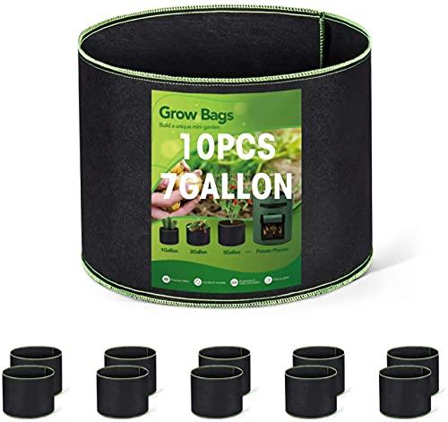 HOUSE DAY - Paquete de 10 bolsas de cultivo de 7 galones, macetas de tela de aireación resistentes, macetas de tela no tejida gruesa, bolsas de cultivo de plantas con asas