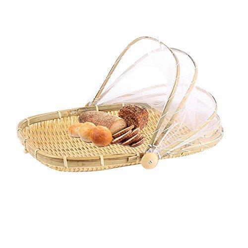 iBaste Abdeckhaube Carrier handgeflochtenem Korb Schützt Speisen und Getränke von Bugs Staubdicht Brot Obst Korb Picknick Korb mit Gaze