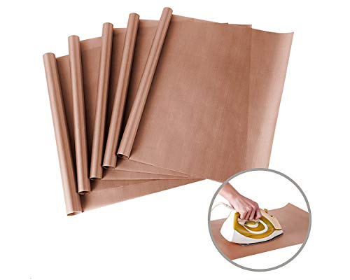 SCSpecial - Hoja de teflón para prensa de calor de 12 x 16 pulgadas, hoja de transferencia para vinilo, 5 piezas, antiadherente, resistente al calor forros para horno para hornear