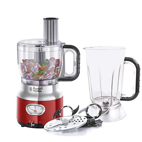 Russell Hobbs Retro 25180-56 - Robot de cocina 850 W, vaso smoothies, recipiente mezclador, disco de corte y de rallado, color rojo