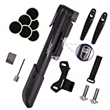 GIYO Mini Bike Pump, Portable Compact Bicycle Pump with Pressure Gauge, Tire Repair Kit, Perfect for Presta & Schrader Frame Mount for Road, Mountain & BMX Cycling, Ball Pump with Needle 120 PSI
