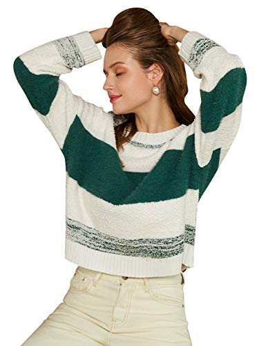 Womens Pullover Sweater Striped Color Long Sleeve Top $11.24 (55% Off with code)