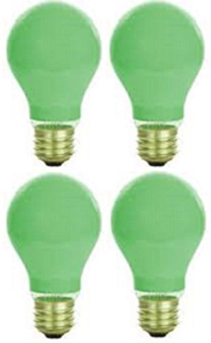 Pack of 4 40 Watt A19 Ceramic Green Medium Base Standered Household Incandescent Green Colored Light Bulb