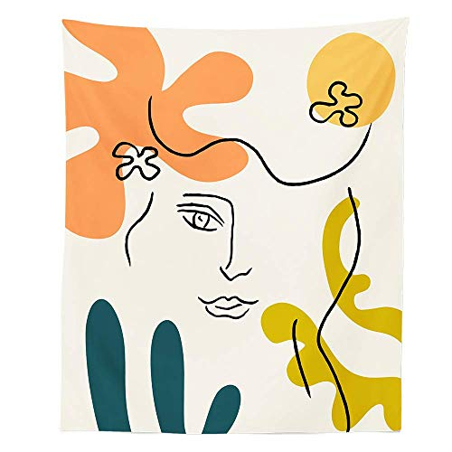 KHKJ Línea Arte sofá Silla Cubierta Mantel Tapiz de Pared decoración del hogar para Sala de Estar Dormitorio A2 95x73cm