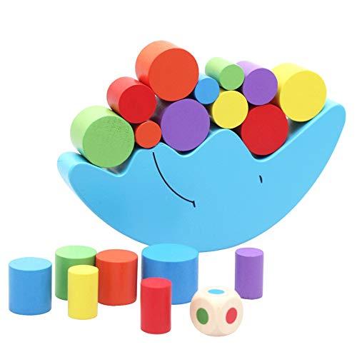 Tagke Aufklärung Kinder Puzzle aus Holz Blöcke Mond Balance Eltern-Kind-Spiel Kindergarten Früherziehung Zentrum Empfohlenes Spielzeug (Color : Blue)