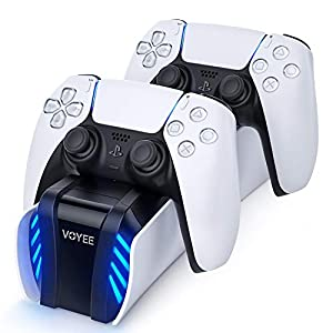 VOYEE Fast Charging Station Compatible with PS5 DualSense Controller - Upgraded Charger Click-in Charging Dock Replacement for Playstation 5 Wireless Controller with LED Indicators by VOYEE