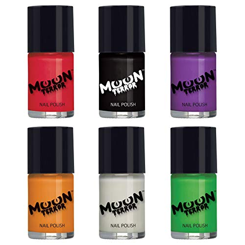 Moon Terror - Halloween Nail Polish - 0.47fl oz - For spooky halloween nails. Perfect for vampire, ghost, skeleton, witch, pumpkin, monster etc - Set of 6 colours (Best Glitter Nail Polish Uk)