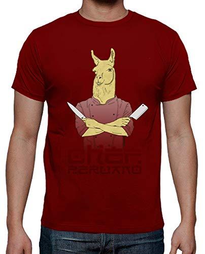 latostadora - Camiseta Chef Peruano para Hombre Rojo M