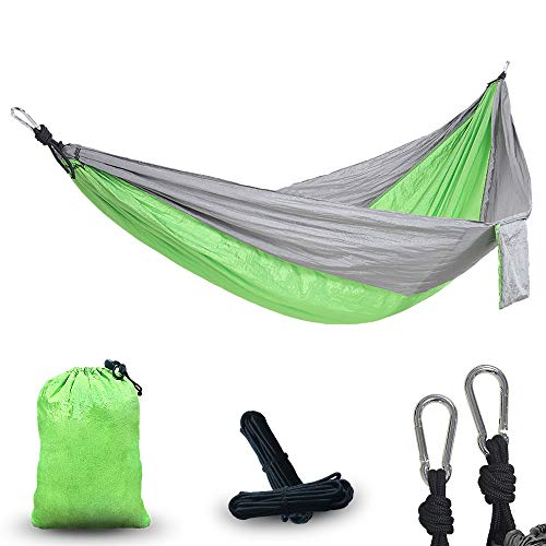 YUCAN Double Camping Portable HammockPortable Parachute Hammock Suitable for Outdoor Beach YardPerfect Choice for Backpacking Gear(Gray Green)