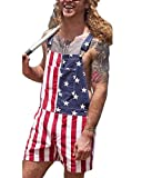 American Flag Overalls Denim Bib Shorts for Men Women Adjustable Strap Jean Shorts Rompers Short Jumpsuit with Pocket,S