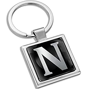 Biomar Labs® Metal A-Z Alphabet Personalized 3D Name Initials Keyring Key Ring Chain Stainless Steel Gift Box Men Women Keychain Bag Accessories Jewelry Handbag Silver Letter N KK 118