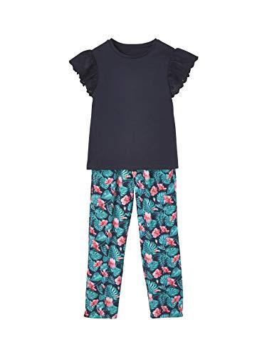 Vertbaudet Mädchen-Set: Hose & T-Shirt Nachtblau+türkis Bedruckt 158