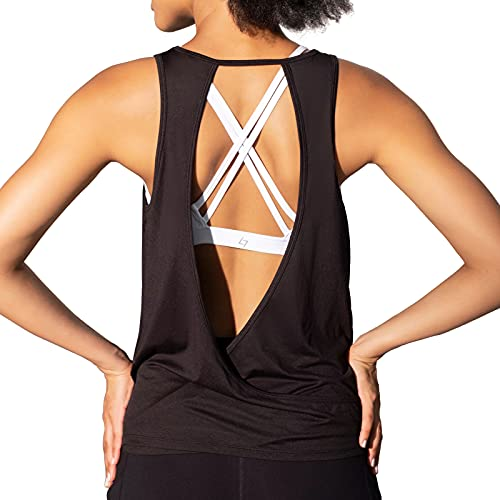 FITTIN Womens Summer Open Back Yoga Tank Tops -Casual Athletic Running Workout Tops-Loose Fitting Tank Tops Shirts-Womens Activewear Black Large