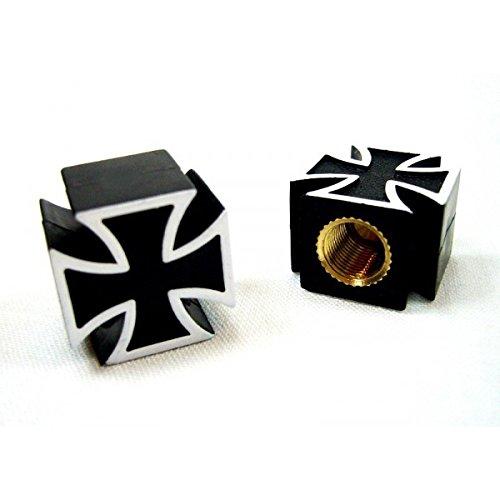 Par de tapones para válvulas con diseño de la Cruz de Malta, negro