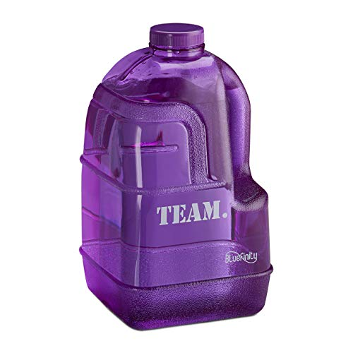 Bluefinity Botella Team de Agua para Deporte, Cantimplora XXL para Gimnasio, Libre de BPA y DEHP, 3,9 litros, Morado