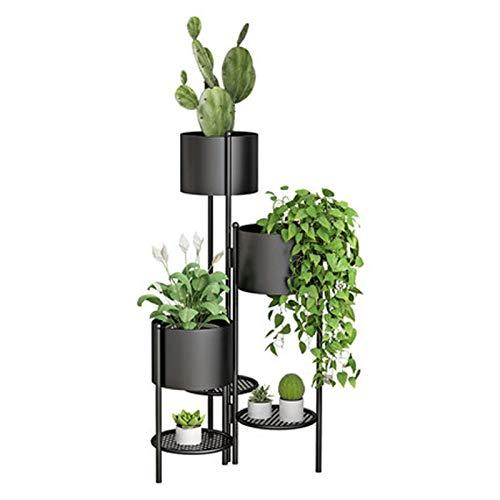 Estante de cocina, estantes de varias capas de rábano verde, estante de flores para interiores, sala de estar, suculentas, estante de plantas de reno, color negro claro
