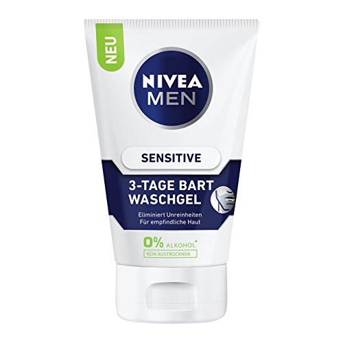 Nivea Men Sensitive 3-Tage Bart Waschgel, 2er Pack (2 x 100 ml)