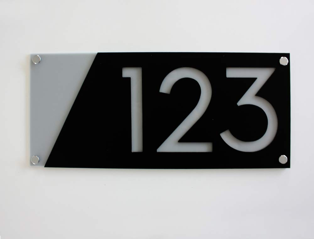 Modern House Numbers Black with Raleigh Mall Hom - Grey Charlotte Mall Contemporary Acrylic