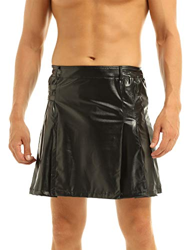 iixpin Herren EMP Kilt Schotten Rock Utility Kilt Deluxe Kilt Verstellbar Größen Mode Schottenkaro Wetlook Rock Schwarz Schwarz L