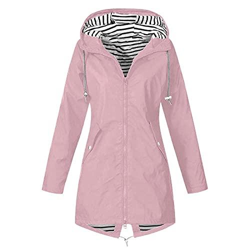 Plus Size Raincoat for Women Waterproof Long Hooded Trench Coats Lined Windbreaker Travel Jacket Hooded Jackets
