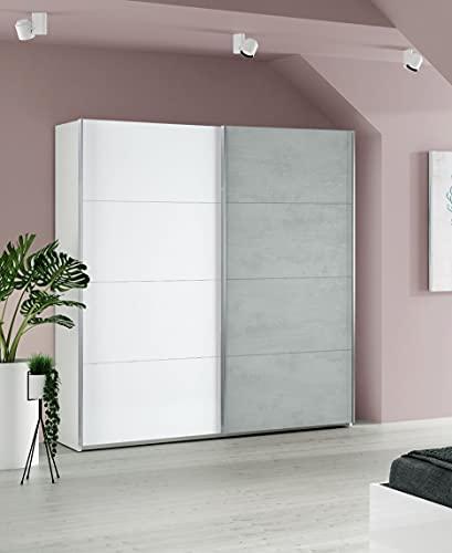 Dmora Armadio Guardaroba a Due Ante scorrevoli, Bianco artik con Anta di Colore Cemento, cm 150 x 200 x 60