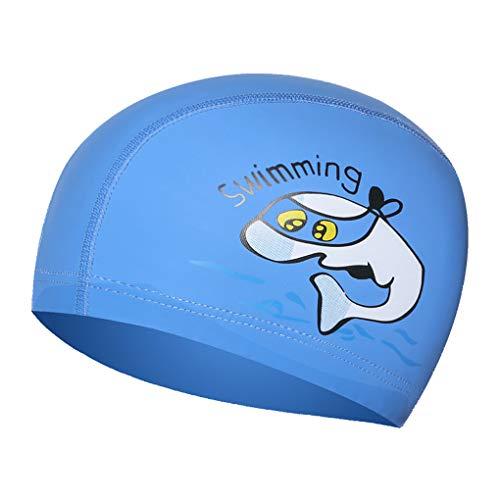 WITERY - Cuffia da Nuoto per Bambini, in Poliuretano, Impermeabile, in Silicone, Elastico, per Sport Acquatici, Piscina, Orecchie per Ragazzi e Ragazze, Bambino, Blue, Taglia Unica