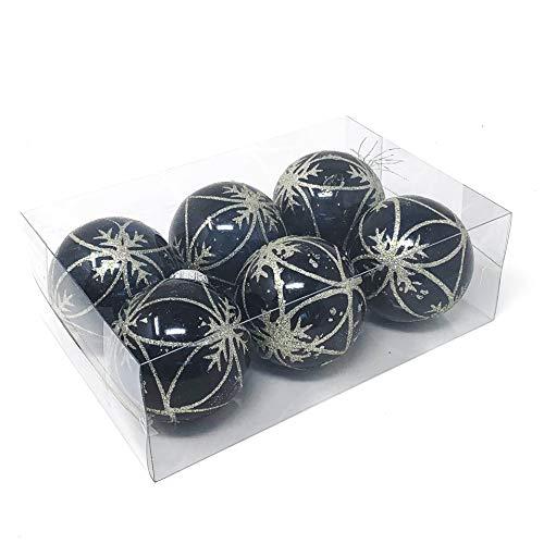 Allgala 6-PK 3 Inch Luxury Glitter Rich Decoration Christmas Tree Ornament Balls-Navy Blue-XB93105