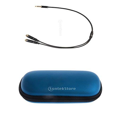 B Blesiya Cable divisor de auriculares de 3,5 mm + bolsa de almacenamiento de piel sintética dura