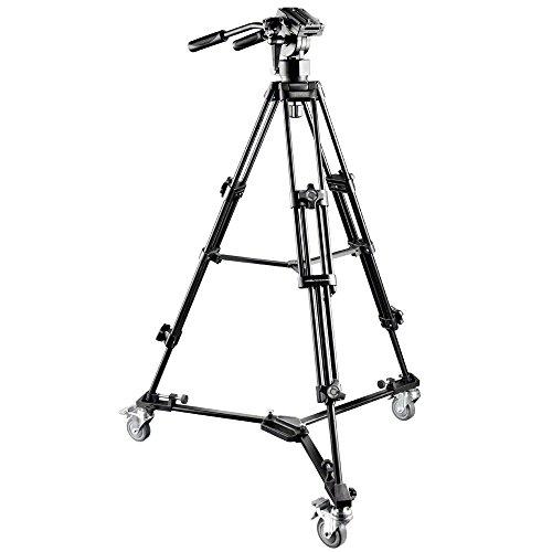 Walimex Pro EI-9901 Video-Pro-Stativ inkl. Stativwagen WT-600 (max. Höhe 138 cm, Videoneiger, Mittelspinne, Belastbarkeit 6 kg und Stativtasche)