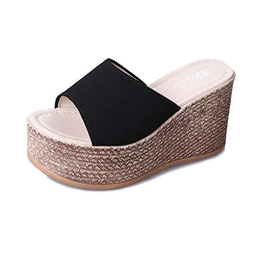 Noctiflorous Chaussures de Piscine à Semelle Home Slide,Pantoufles imperméables pour Femmes, Chaussures à Plateforme à Talon compensé-2 Noir_39,Sandales à Bout Ouvert Unisexes