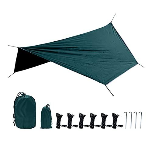 Amagogo Regen Fliegenzelt Tarp Wasserdicht Leichte Überlebensausrüstung Vielseitiger Unterstand für Camping Wandern Rucksack Hängematte Camp Ausrüstung - Dunkelgrün