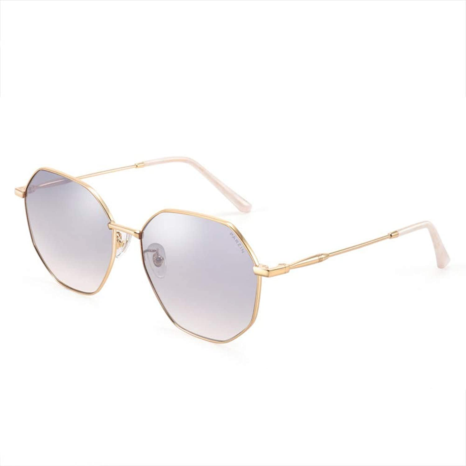 Fashion Sunglasses Female Metal Frame Polygon Small Face Sunglasses Trend gold Frame Reflective Film Mercury Film
