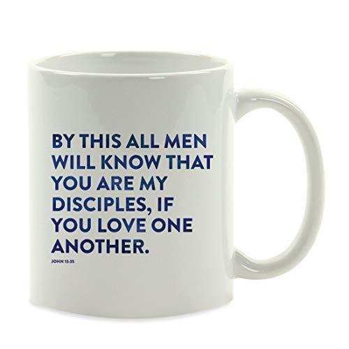 Regalo de Taza de café, versículos de la Biblia, Juan 13:35 de Este Todos los Hombres sabrán Que Son mis discípulos, si se aman Unos a Otros 11 oz