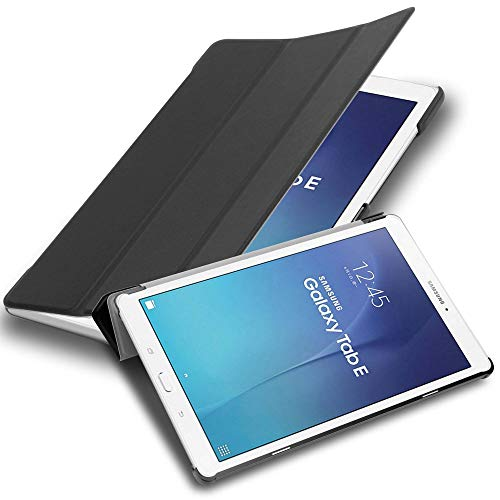 """Cadorabo Custodia Tablet per Samsung Galaxy Tab E (9.6"""" Zoll) SM-T561 / T560 in NERO SATIN – Copertura Protettiva Molto Sottile di Similpelle in Stile Libro SENZA Auto Wake Up e Funzione Stand"""