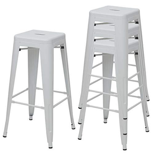 Mendler 4X Tabouret de Bar HWC-A73, Chaise de comptoir, métal, empilable, Design Industriel - Blanc