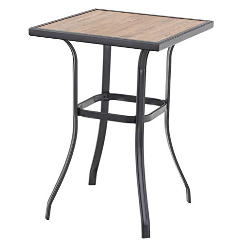 PHI VILLA Patio Bar Table, Outdoor Bar Height Bistro Table with Wooden-Like Top & Metal Frame