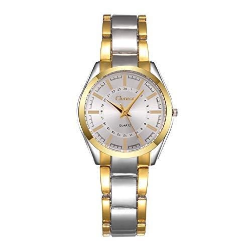 HBR Relojes de pulsera para mujer, de acero inoxidable, reloj de cuarzo para mujer, fácil de leer, correa de dial analógico, reloj de cuarzo para mujer, reloj de mujer (color: blanco)