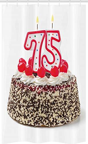ABAKUHAUS 75ste Verjaardag Douchegordijn, cake 75, voor Douchecabine Stoffen Badkamer Decoratie Set met Ophangringen, 120 x 180 cm, Veelkleurig