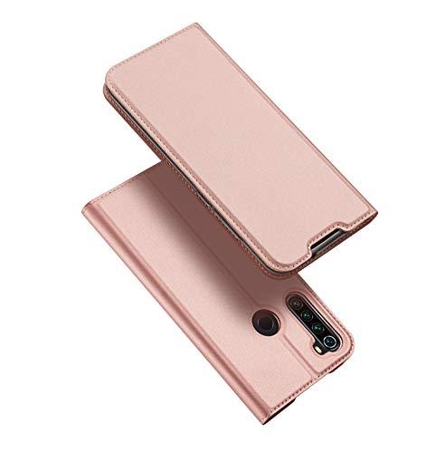 DUX DUCIS Hülle für Xiaomi Redmi Note 8T, Leder Klappbar Handyhülle Schutzhülle Tasche Hülle mit [Kartenfach] [Standfunktion] [Magnetisch] für Xiaomi Redmi Note 8T (Rose Golden)