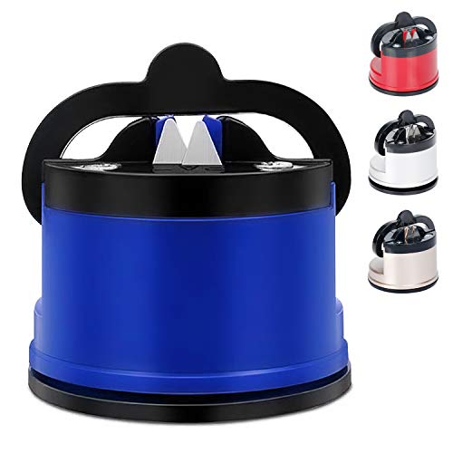 Knife Sharpener with Suction, Kitchen Chef Knife and Scissors Sharpener for Straight and Serrated Knives, Knife Sharpening Tool Helps Repair and Restore Blades