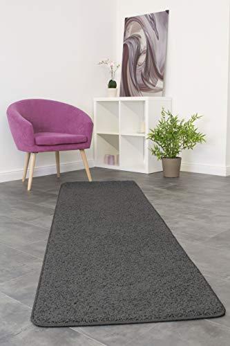 misento Shaggy Hochflor Teppich für Wohnzimmer Langflor, schadstoff geprüft 100 % Polypropylen, grau-braun 67 x 250 cm