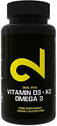 Dual Vitamine D3+K2+Oméga 3 |Oméga 3 Complexe Vitaminique Naturelle|Complément Alimentaire |Vitamine Solaire à Dose Élevée |Sans Gluten ni Lactose |Dépôt de 4 Jours |80 Capsules Végétaliennes |UE