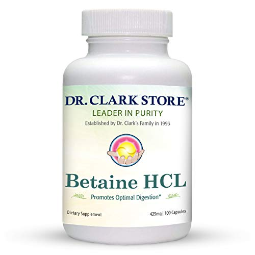 Dr. Clark Betaine HCL Digestive Enzymes - Acid Reflux Medicine, Hydrochloric Acid Protein Supplement, Optimal Digestion Formula, 100 Capsules, 425 mg