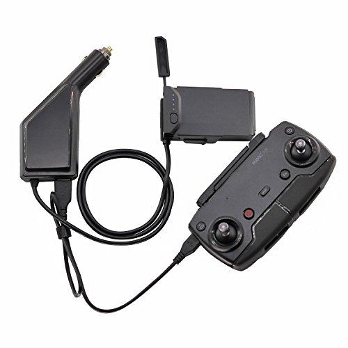 Rantow Akku Chargeur de Voiture Adaptateur de Batterie pour DJI Mavic Air Drone - Charge 1 Batterie + 1 Télécommande / Téléphone