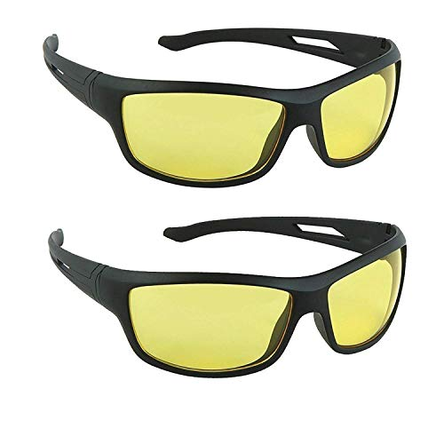 HIPPON Day And Night Vision Goggles for Riding Bikes Combo Pack of Driving Sunglasses for Men Women Boys & Girls (Yellow Night Vision) - 2 Goggle Case