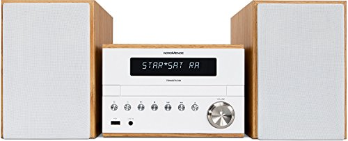 Nordmende transita 300/Digital Radio, Impianto compatto con DAB +, FM, Mini impianto stereo con lettore CD e interfaccia USB, audio streaming tramite Bluetooth, Bianco/Legno